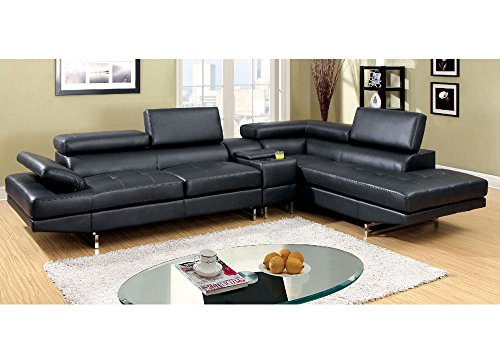 1PerfectChoice Kemi L-Shaped Sectional Sofa Gas Lift Headrests Bonded Leather Storage Console Color Black