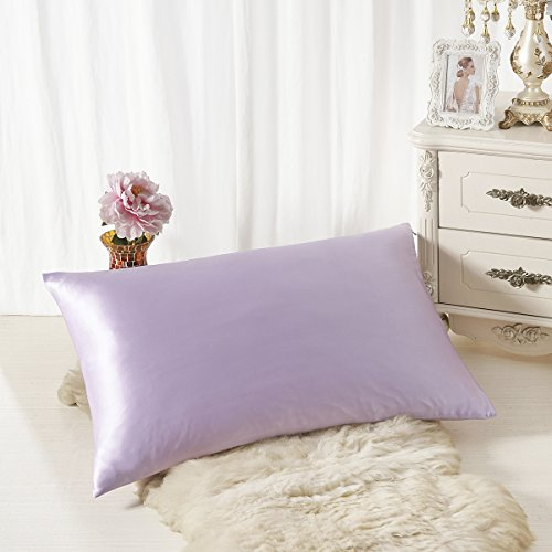 Lavender Mulberry - ALASKA BEAR Natural Silk Pillowcase, Hypoallergenic, 19 momme, 600 thread count 100 percent Mulberry Silk, Standard Size with hidden zipper (1, Lavender)