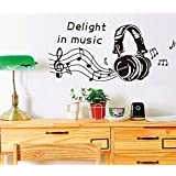 "BIBITIME Sayings Quotes Delight in Music Staff Headset Wall Decal Musical Notes Vinyl Sticker for Fans Shop Window Showcase Living Room Bedroom DIY 37.37"" x 17.71"""