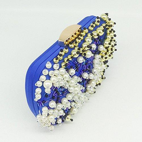 Mode Dames Dîner Soirée Bandoulière Sac Soirée Pour à à De Chaîne Banquet blue Pour Sac Sac La Perles à Pochette Sac En à Perlée De Pour Main La w15tSPqv