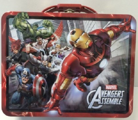Marvel Avengers Assemble - 3D Embossed Red Tin Carry All, Lunch Box