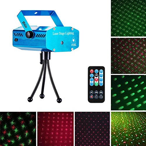 9Fshine Mini Stage Laser Lights ,Sound, Strobe, Auto 3 lighting mode and Remote Control(include),RG Led Beam Light For Dj Party(blue)