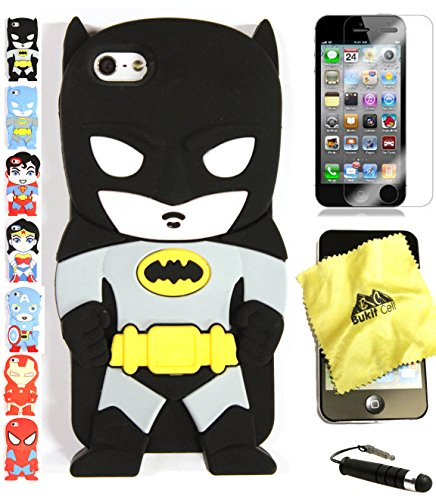 Bukit Cell 3D Superhero Case Bundle - 4 items: BLACK BATMAN Cute Silicone Case for iPhone SE 5S 5 5G + BUKIT CELL Cloth + Screen Protector + METALLIC Stylus Touch Pen with Anti Dust Plug