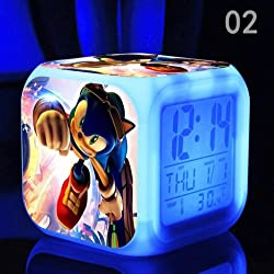 AThiToZone (arrive within 3-5 weeks). Sonic The Hedgehog Cartoon Game Action Figure LED Light Clock 7 Colors Change Digital Alarm LED Clock Colorful Toys for Kids (Style 2)