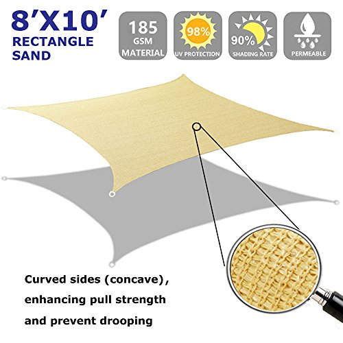 Shade&Beyond 8' x 10' Sun Shade Sail Canopy Rectangle Sand Color UV Block for Outdoor Facility and Activities