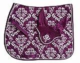 Equine Splendour Saddle Cloth and Fly Veil Matching Set (Cob, Purple)