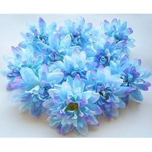 "(12) Blue Silk Dahlia Flower Heads - 4"" - Artificial Flowers Dahlias Head Fabric Floral Supplies Wholesale Lot for Wedding Flowers Accessories Make Bridal Hair Clips Headbands Dress 30"