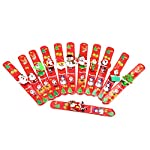 Christmas Decorations, Christmas Bracelets 12PCS Assorted Style LED Glowing Slap Bracelets Wristbands for Kids Adults Christmas Party Carnival Celebration Decorations