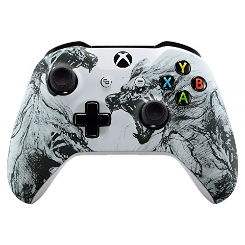 eXtremeRate Soft Touch Grip Wolf Soul Front Housing Shell Faceplate for Microsoft Xbox One X & One S Controller ()