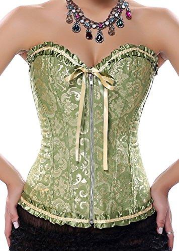 Ya Lida Women's Sexy little cute style Zip waist corset with G-string Large