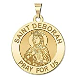 Saint Deborah Round Religious Medal - 1 Inch Size of a Quarter -Solid 14K Yellow Gold