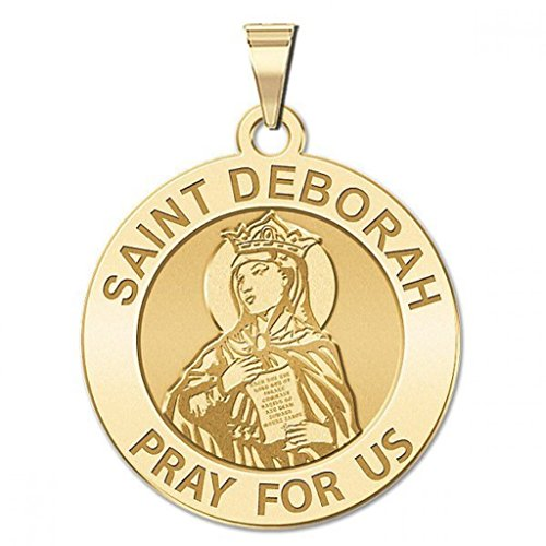 Saint Deborah Round Religious Medal - 1 Inch Size of a Quarter -Solid 14K Yellow Gold (14k Medal Yellow Gold)