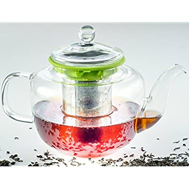 Hand Crafted Artisan Glass Teapot with Tea Infuser. EcoFriendly. Removable Stainless Steel Strainer. 28 ounces Stove Safe Tea Kettle