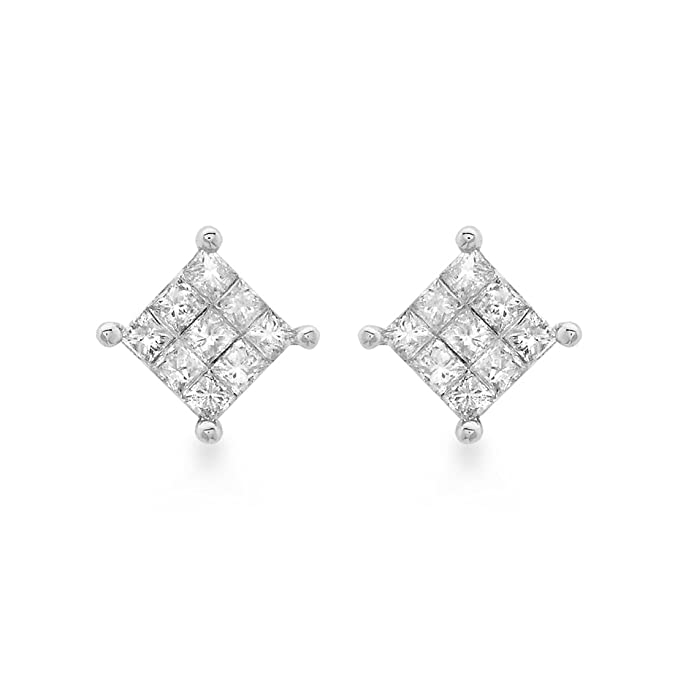 Carissima Gold 9ct White Gold 0.25ct Square Diamond Stud Earrings uS9NCfQb5w