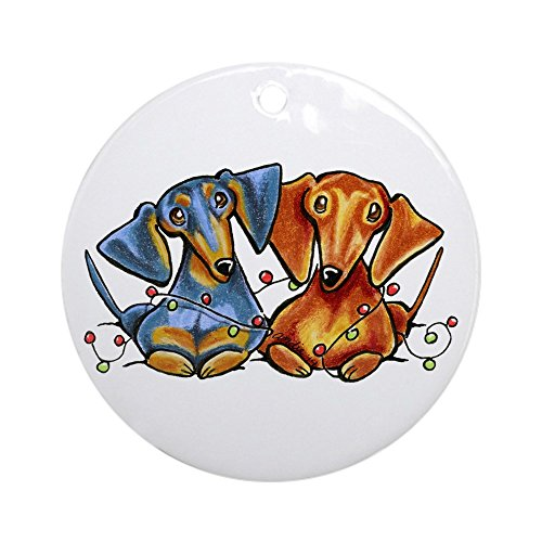 CafePress Dachshund Christmas Ornament (Round) Round Holiday Christmas Ornament