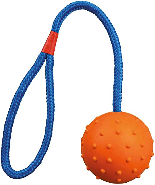 Trixie Ball On A Rope Dog Toy 6cm Diameter 30cm Rope
