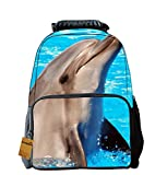 OrrinSports Felt Fabric School Backpack Bags 3D Animal Print Cute Laptop Daypacks Dolphin-16""