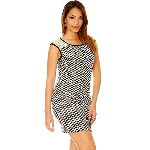 Miss Wear Line - Robe à motif noir et blanc avec dentelle aux épaules, au dos et plis devant