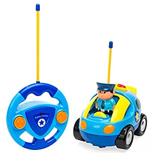 Best Choice Products 2-Pack Kids Cartoon Remote Control RC Police Car and Race Car w/ 2 Action Figures - Multicolor