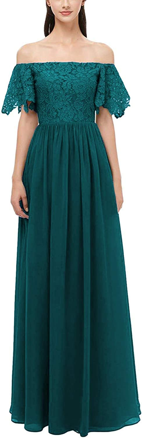 Rjer Off Shoulder Bridesmaid Dresses Long Lace Chiffon A Line Formal Prom Gowns for Women Fuchsia v8zDh