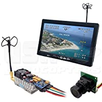 5.8GHz Long-Range Plug-and-Play FPV System 1000mW Transmitter, Camera, All-In-One 7 Monitor, Clover Antennas, Cabling