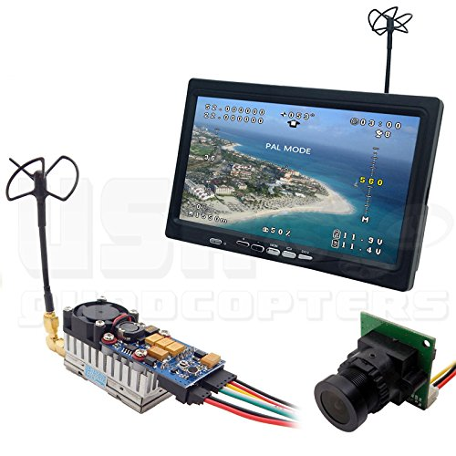 5.8GHz Long-Range Plug-and-Play FPV System 2,000mW Transmitter, Camera, All-In-One 7'' Monitor, Clover Antennas, Cabling by USA QuadcoptersTM