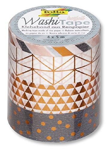 Folia 26416Ruban adhésif décoratif de papier washi tape Hot Foil cuivre, Lot de 4
