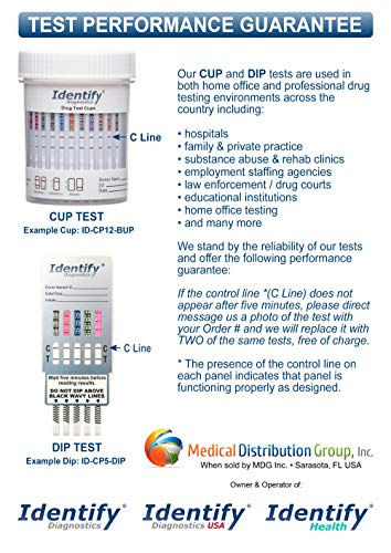 5 Pack Identify Diagnostics 6 Panel Drug Test Cup - Testing Instantly for 6  Different Drugs THC, OXY,