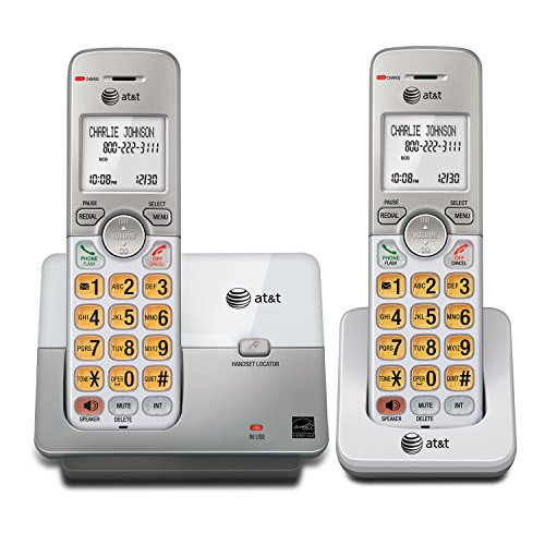AT&T EL51203 DECT 6.0 Phone with Caller ID/Call Waiting, 2 Cordless Handsets, Silver (Renewed) Dect Call Waiting Cordless Phones
