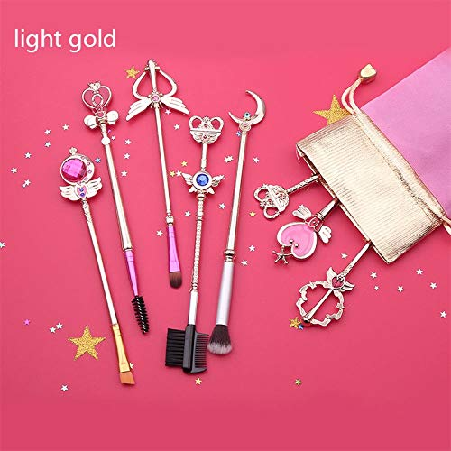Cosplay Sailor Moon Anime Jewelry Makeup Cosmetic Brush Set Pincel Maquiagem Golden Metal Moon With Crystal Women Gifts