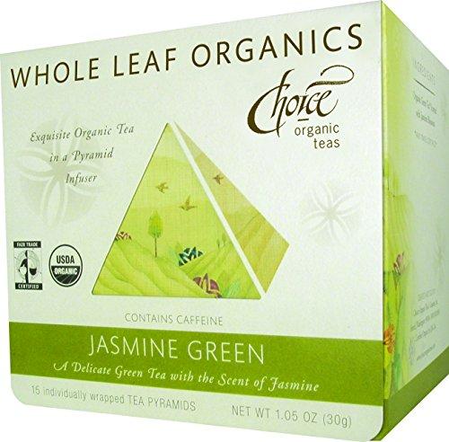 Choix tout organique Feuille Organics thé vert au jasmin Pyramides, 15-Count, 1,05 once boîtes (pack de 3)