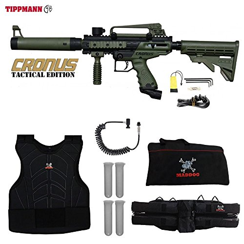 (MAddog Tippmann Cronus Tactical Paintball Sergeant Paintball Gun Package - Black/Olive)
