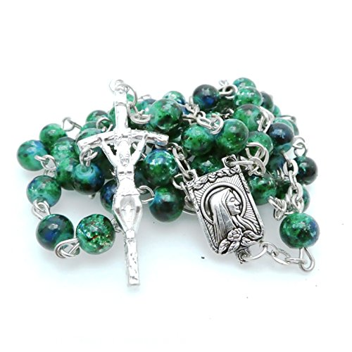 Soul Shop Modern Speckled Rosary - Pop-Inspired Christian/Catholic Gift Prayer Beads in Gift Box (Deep Irish Forest Green)