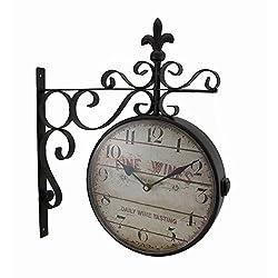 Zeckos Double Sided Fine Wines Decorative Fleur De Lis Station Clock