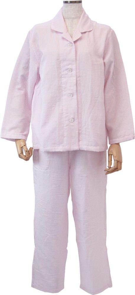 UCHINO マシュマロガーゼ ストライプ レディスパジャマ (L) ピンク RPZ18029 L P B01H1DAMRE Large|ピンク ピンク Large