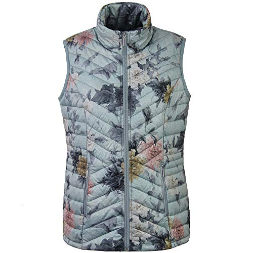 Tailory Women Vest, Quilted Padding Zip Vest for Keeping Warm, with Peony Flowers Print ()