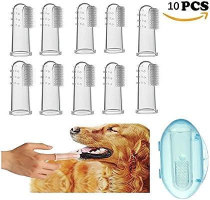 RoadRoma Juegos de Dedos de Silicona Gato Dientes de Perro Herramientas de Limpieza bucales Cepillo de Dientes para Mascotas