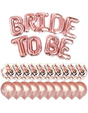 Big BRIDE TO BE Balloons Rose Gold 16inches Letters Banner - Party Decorations Set with 10 Rose Gold Confetti Balloons and 10 Latex Party Balloons