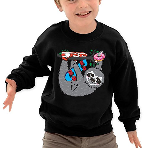 Puppylol Skater Sloth and The Donuts Kids Classic Crew-Neck Pullover Hoodie Black 4 Toddler