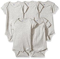 Gerber Baby 5 Pack Onesies, Gray, 0-3 Months