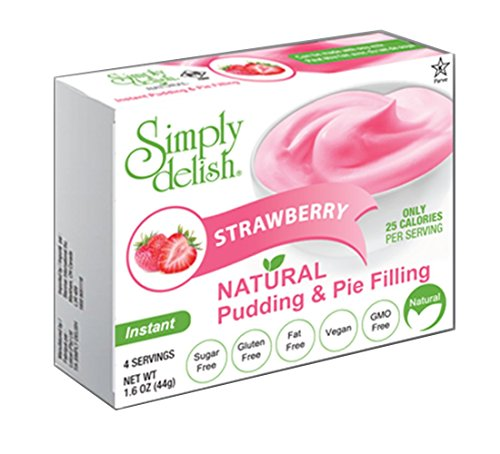 (Simply delish Natural Pudding Dessert, Sugar free, 0.3 oz., 6-pack – Fat Free, Gluten Free, Lactose Free, Non GMO, Kosher, Halal, Dairy Free, Natural (Strawberry))