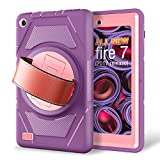 eSamcore All-New Amazon Fire 7 Tablet Case,[Built-in Screen Protector] [Hand Strap] [Kickstand] Rugged Protection Case for Kindle Fire 7 2017 Release [Purple/Pink]