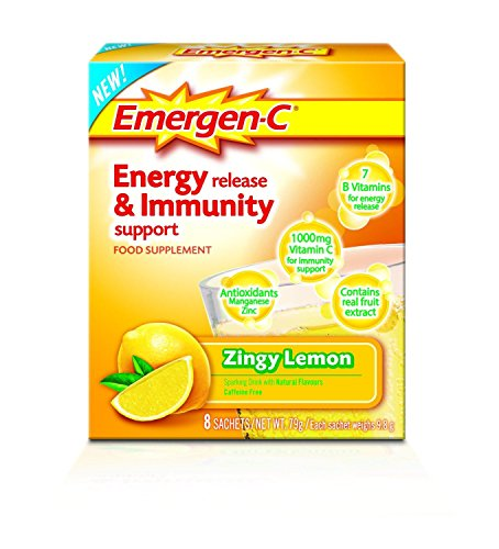 EMERGEN-C Zingy Lemon Energy Release & Immunity Support Food Supplement 8 Sachets - 6 Pack