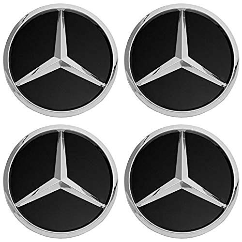 Black Mercedes Benz Cover - cargooghi 4Pack Mercedes Benz Wheel Center Hub Caps Emblem,75mm Rim Black hubcaps Fit Benz C ML CLS S GL SL E CLK CL GL Center Cap Badge(Black)