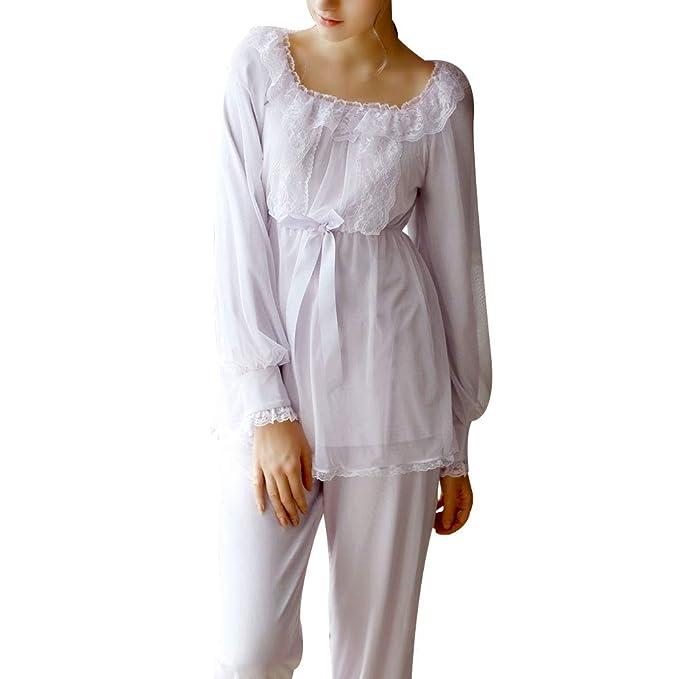 Victorian Nightgowns, Nightdress, Pajamas, Robes Womens Long Sleeve Victorian Sleep Set Pajamas Set Two Piece Pj Set Sleepwear $44.78 AT vintagedancer.com
