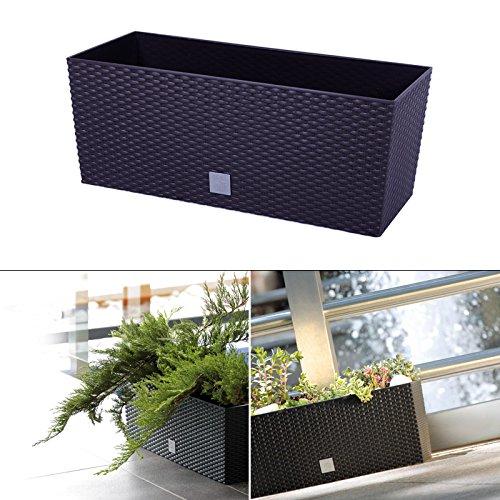 Blumenkasten mit Wasserspeicher 60 cm Braun Bewässerungssystem Balkonkasten Übertopf Blumenkübel Pflanzkübel Pflanzenkübel Pflanztopf Blumen Pflanzen Garten Terrasse Balkon