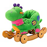 labebe Child Rocking Horse Toy, Stuffed Animal Rocker Toy, 2 in 1 Green Dinosaur Rocker whit Wheel for Kid 6-36 Months, Child Rocking Toy/Wooden Rocking Horse/Rocker/Animal Ride on/Dragon Rocker