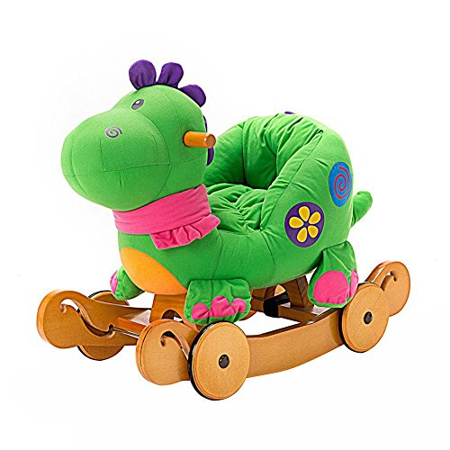 Labebe Child Rocking Horse Toy, Stuffed Animal Rocker Toy, 2 in 1 Green Dinosaur Rocker whit Wheel for Kid 6-36 Months, Child Rocking Toy/Wooden Rocking Horse/Rocker/Animal Ride on/Dragon Rocker (Store Green Melbourne)