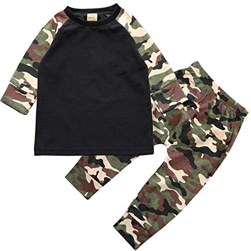 ZHUANNIAN Baby Boys Clothes 2PCS Outfit Set Long Sleeve Tops with Stripped Pants (12-18 Months, Camo)