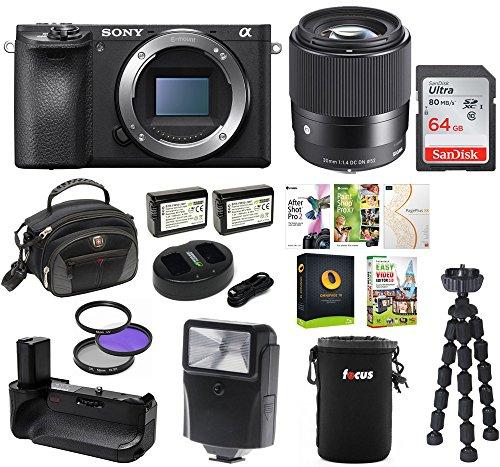 Sony a6500 Premium E-Mount APS-C Mirrorless Digital Camera (Body Only) w/ Sigma 30mm f/1.4 Lens Bundle by Sony